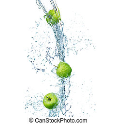 green apples in splash of water isolated on white background
