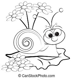 Coloring page - Snail and daisy - Kids illustration with...
