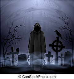 Angel of death in the cemetery - Faceless angel of death in...