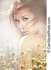 romantic woman portrait - summer romantic portrait of young...