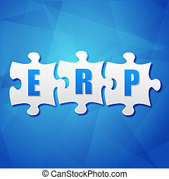 ERP in puzzle pieces over blue background, flat design