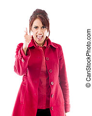 Angry Indian young woman scolding somebody - Adult indian...