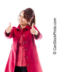 Smiling Indian young Woman showing thumb up sign isolated on white background