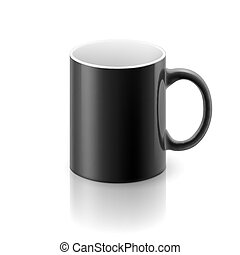 Black mug - Black glossy mug on the white background