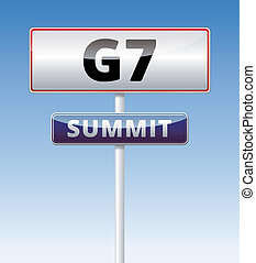 G7 Summit traffic sign with blue sky background