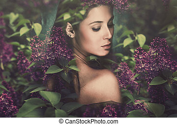 fantasy woman - fantasy forest fairy surrounded by flowers
