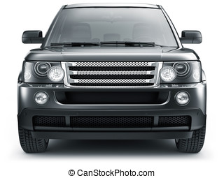 Black suv car - front view - Black suv car on a white...