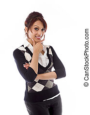 Indian businesswoman showing smiley face - Adult indian...