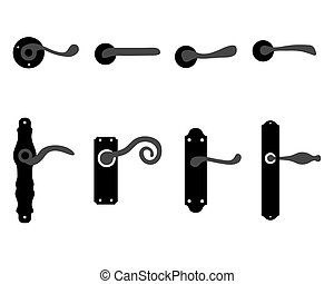 doorknob - Silhouettes of doorknob and handles of the door,...