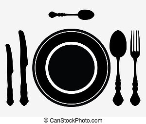 cutlery - Plate, knife and fork on the table, vector
