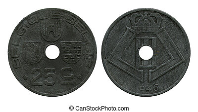 twenty five centimes, Belgium, 1946