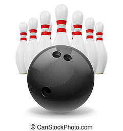 Bowling - Rows of skittles behind of black ball.
