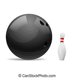 Ball and skittle. - Big black ball scares a small white...