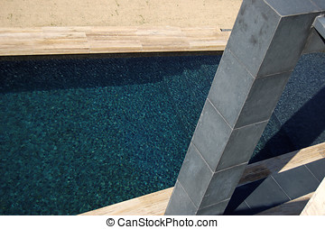 ultramodern architecture swimming pool sand color marble...