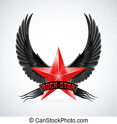 Red star with Rock Star banner and wings - Red star with...