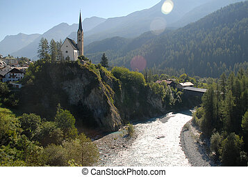 Scuol - scuol with sunbeams