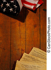 American Constitution with US Flag. Focus on document with...
