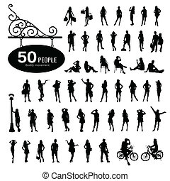 Silhouette people bodily movement background, vector...