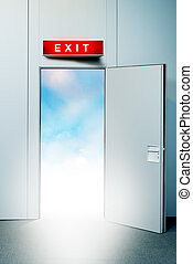 Exit door to heaven, conceptual image Leaving all problems...