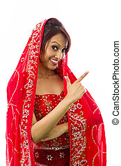 Young Indian woman making smiley face - Adult indian woman...