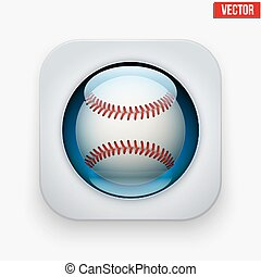 Sports button with ball under glass for website or app. -...