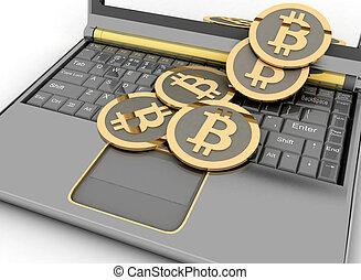 Bitcoins on laptop