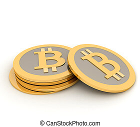 Stack of bitcoins isolated on whit
