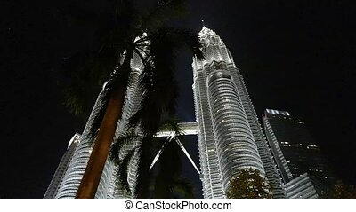 Petronas Twin Towers and Palm Tree - Petronas Twin Towers in...