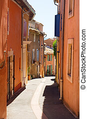 Little lane in French Roussillon - Little lane with red...