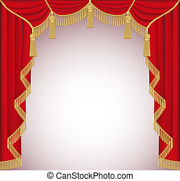 background with red velvet curtain with tassels