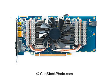 VGA - Computer graphic card, VGA Card Isolated on white...