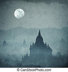 Amazing castle silhouette under moon at mysterious night...