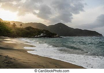 Beautiful Caribbean wild beach in the jungle at Tayrona...