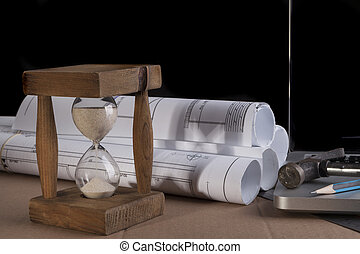 Wood Hourglass - Architectural plans rolled with silver...