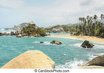 Tropical Paradise Beach at Tayrona National Park. Colombia....