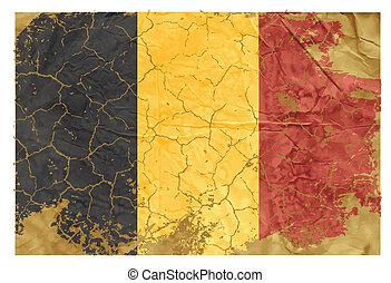 Vintage Belgian flag cultural, national, navy, red