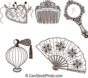 Lady's vintage beauty accessories collection. - Hand drawn...
