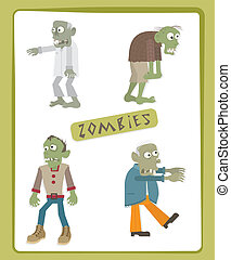 Zombies - Cute set of four zombies Eps10