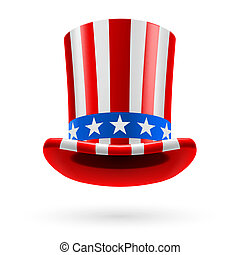 Top hat made of US flag - Top hat made of United States flag...
