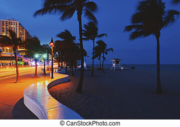 Fort Lauderdale Beach blvd. at night - Ft Lauderdale,...