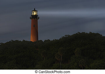 Jupiter Lighthouse - Lighthouse light beam at night