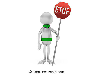 3D man holding a road sign isolated on white.
