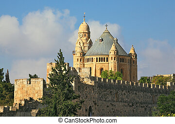 The Catholic Church of Dormition in Jerusalem The morning...