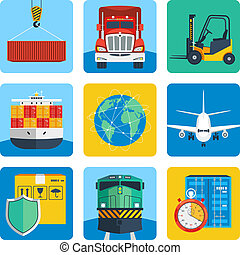 Logistic Icons Set - Logistic shipping delivery service...
