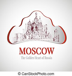 Moscow city emblem - Moscow golden heart of russia city...