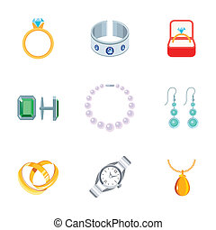 Jewelry Icons Flat - Jewelry flat icons set of diamond ring...