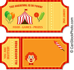 Circus tickets template - Two vintage circus tickets with...