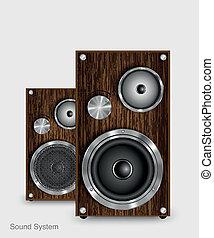 Wooden two way audio speaker, vector energy