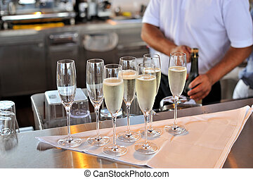 Champagne glasses in the bar