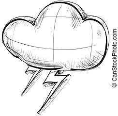 Cloud with lightnings weather icon - Hand drawing sketch Eps...